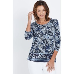 W.lane Floral Border Print Top - Blue Multi - XS found on Bargain Bro from W Lane for USD $19.72