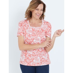 Millers Short Sleeve Printed T-shirt With Crochet Neck Insert - Coral Floral - 14 found on Bargain Bro India from Rockmans for $7.62