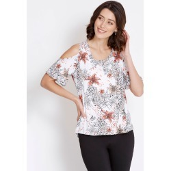 Rockmans Short Sleeve Bling Trim Print Top - Multi - S found on Bargain Bro India from Rockmans for $7.24