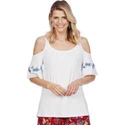 Rockmans Cold Shoulder Embroidered Top - White - S found on Bargain Bro Philippines from Rockmans for $5.90