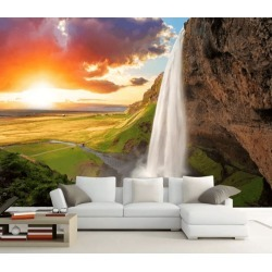 Aj Wallpaper 3d Sunset Waterfall 1056 Wall Murals Removable Wallpaper Woven Paper - Multi - XXXL found on Bargain Bro from Rockmans for USD $253.30
