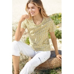 Capture Linen Blend Tee - Green Print - 8 found on Bargain Bro India from Rockmans for $37.03