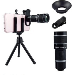18x Magnification Universal Mobile Phone Lens With Adjustable Zoom - Black - One