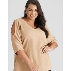 Beme Texture Knit Elbow Sleeve Top - Chai - XS found on Bargain Bro from crossroads for USD $22.86