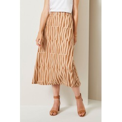 Grace Hill Linen Blend Skirt - Abstract Print - 20 found on Bargain Bro Philippines from crossroads for $38.51
