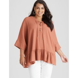Beme Lace Up Frill Hem Shirt - Rust - XS found on Bargain Bro India from Rockmans for $43.54