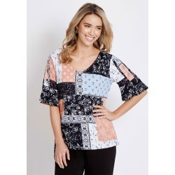 Rockmans Elbow Eyelet Sleeve Print Top - Patchwork Multi - L found on Bargain Bro India from Rockmans for $7.24