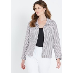 W.lane Stripe Linen Jacket - French Navy Onl - 12 found on Bargain Bro from Katies for USD $20.71