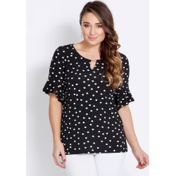 Katies 3/4 Sleeve Ruffle Trim Top - Black Spot - S found on Bargain Bro India from W Lane for $12.42