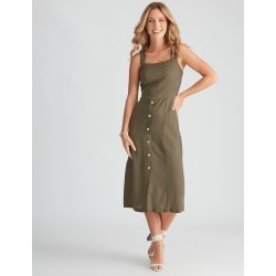 Rockmans Sleeveless Linen Button Through Dress - Dark Khaki - 16 found on Bargain Bro Philippines from crossroads for $14.14