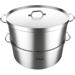 Soga Ss Commercial 304 Food Steamer 2 Tier 45cm - Stainless Steel - ONE found on Bargain Bro from Noni B Limited for USD $149.64