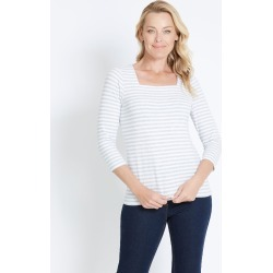 Rivers Square Neck 3/4 Sleeve Tee - Grey/white Stripe found on Bargain Bro from crossroads for USD $5.61