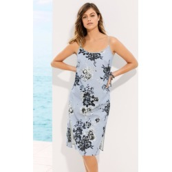 Emerge Linen Blend Midi Slip Dress - Blue Floral - 8 found on Bargain Bro Philippines from W Lane for $17.25