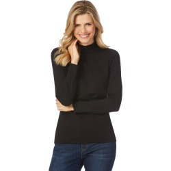 Rockmans Long Sleeve Mock Neck Tee - Black - XL found on Bargain Bro India from BE ME for $7.72