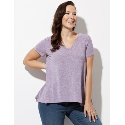 Crossroads Peak Hem Faux Knit Top - Lilac Marle - M found on Bargain Bro from crossroads for USD $10.66