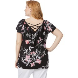 Beme Short Sleeve Frill Neck Top Floral - Multi - XS found on Bargain Bro Philippines from crossroads for $14.93