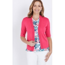 Millers Elbow Sleeve Crop Cardigan - Fuschia - S found on Bargain Bro India from Rockmans for $15.51