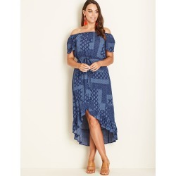 Crossroads Button Maxi Dress - Blue - 10 found on Bargain Bro India from BE ME for $20.41