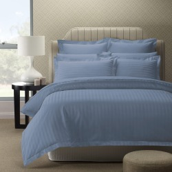 Royal Comfort 1200 Thread Count Damask Stripe Quilt Cover Set - Blue Fog - Queen found on Bargain Bro India from W Lane for $67.66