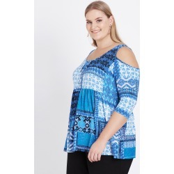Beme 3/4 Sleeve Lace Up Cold Shoulder - Blue Patchwork - S found on Bargain Bro Philippines from BE ME for $14.93