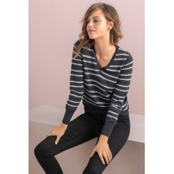 Emerge Merino V Neck Sweater - Grey Marl Stripe - S found on Bargain Bro India from Rivers for $19.80