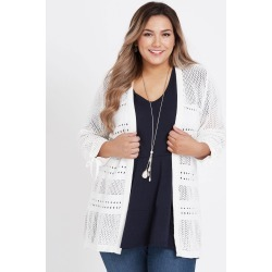 Beme 3/4 Sleeve Open Knit Cotton Cardigan - White - XS found on Bargain Bro Philippines from BE ME for $22.79