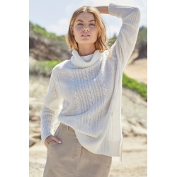 Capture Lambswool Cable Cowl Sweater - Ivory - XXL found on Bargain Bro from crossroads for USD $29.31