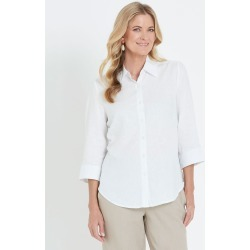 Noni B 3/4 Sleeve Linen Shirt - White - 10 found on Bargain Bro from Noni B Limited for USD $14.94