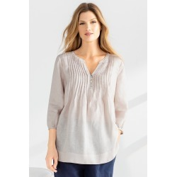 Grace Hill Linen Pintuck Tunic - Natural - 10 found on Bargain Bro from Rivers for USD $29.38