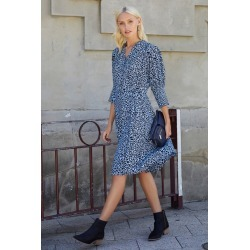 Emerge Mock Wrap 3/4 Sleeve Dress - Blue Print - 10 found on Bargain Bro from Noni B Limited for USD $37.57