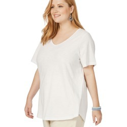Beme Short Sleeve V Neck Basic Tee - White - M found on Bargain Bro India from crossroads for $11.57