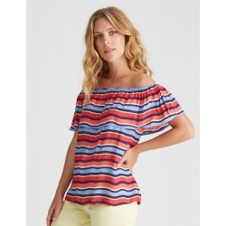 Rockmans Shortsleeve Bold Stripe Off Shoulder Top - Multi - 18 found on Bargain Bro Philippines from Rockmans for $5.90