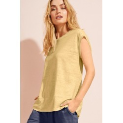 Capture Linen Boxy Panel Tee - Saffron - 10 found on Bargain Bro India from Rockmans for $20.83