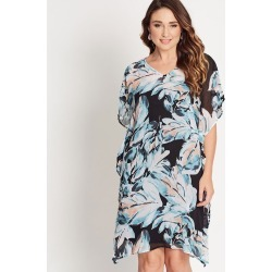 Katies V-neck Kaftan Dress - Tropical Watercolour - 18 found on Bargain Bro from BE ME for USD $17.57