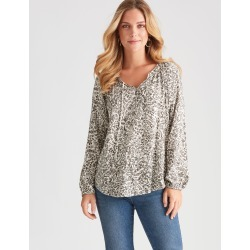 Rockmans Long Sleeve Neck Tie Woven Blouse - Green Multi - 16 found on Bargain Bro India from Rockmans for $19.43