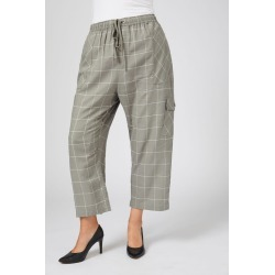Sara Cargo Pocket Linen Pant - Green Check - 16 found on Bargain Bro from Noni B Limited for USD $40.51