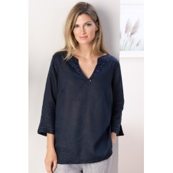 Grace Hill Embellished Linen Tunic - Navy - 8 found on Bargain Bro from crossroads for USD $11.37