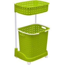 2 Tier Bathroom Laundry Clothes Basket Hamper - Green - One found on Bargain Bro from crossroads for USD $21.80