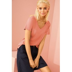 Emerge Organic Cotton V Neck Tee - Coral - 8 found on Bargain Bro India from crossroads for $30.50