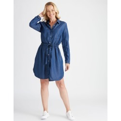 Rivers Long Sleeve Lyocell Midi Dress - Mid Blue - 20 found on Bargain Bro India from W Lane for $32.50