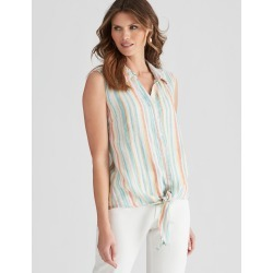 W.lane Stripe Tie Front Shirt - Multi - 12 found on Bargain Bro from Rockmans for USD $11.27