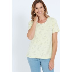 Millers Short Sleeve Printed T-shirt With Crochet Neck Insert - Yellow Birds - 10 found on Bargain Bro India from Rockmans for $7.62