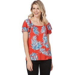 Rockmans Double Cap Stud Trim Top - Red Multi - XS found on Bargain Bro Philippines from Rockmans for $8.85