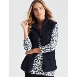 Rockmans Sleeveless Shearling Hi Lo Gilet - True Navy - 8 found on Bargain Bro India from crossroads for $19.44