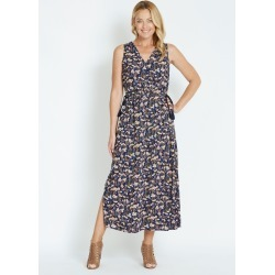 Rivers Short Sleeve Button Tie Maxi Dress - Indigo Floral - 8 found on Bargain Bro from Noni B Limited for USD $20.28