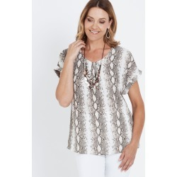 Millers Extended Sleeve Snake Print Top - Neutral Snake Print - 18 found on Bargain Bro from Noni B Limited for USD $5.87