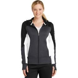 Sport-tek Ladies Tech Fleece Colorblock Full-zip Hooded Jacket - Black/ Graphite Heather/ White - Black/ Graphite Heather/ White - L found on Bargain Bro Philippines from Rockmans for $67.41