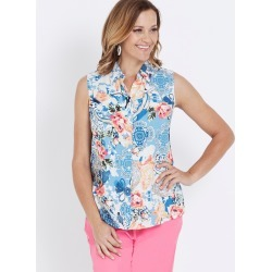 Millers Sleeveless Button Through Collared Shirt - Baroque Print - 10 found on Bargain Bro India from W Lane for $11.66