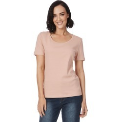 Rockmans Short Sleeve Scoop Neck Tee - Dusty Pink - XS found on Bargain Bro India from BE ME for $7.72