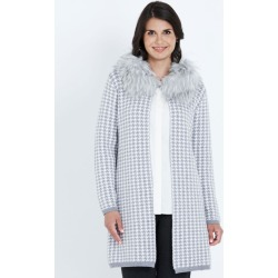 Liz Jordan Detachable Fur Neck Houndstooth Cardi - Silver Filigree - M found on Bargain Bro from Noni B Limited for USD $44.03